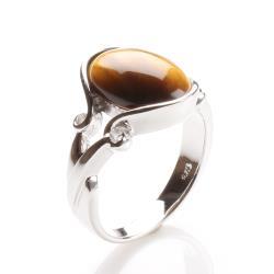 【寶石方塊】無語倫比天然黃金虎眼石戒指