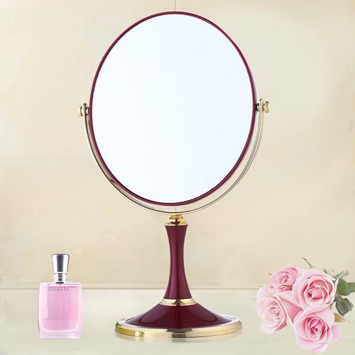 【幸福揚邑】歐式時尚8吋超大梳妝美容化妝放大雙面桌鏡橢圓鏡 酒紅色