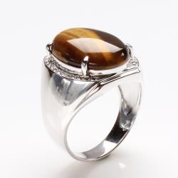 【寶石方塊】運籌帷幄天然黃金虎眼石戒指