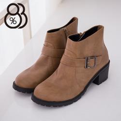 【88%】MIT台灣製 個性簡約皮革素面金屬扣環拉鍊低跟小短靴 工程靴 4色