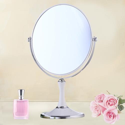【幸福揚邑】8吋超大歐式時尚梳妝美容化妝放大雙面桌鏡橢圓鏡-純白