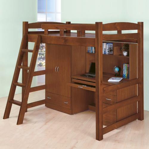 Boden-喬利多功能高層床組(含床架+衣櫥+書桌)