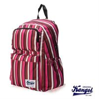 【KANGOL 英國袋鼠】「JUNGLE」機能時尚線條紋後背包(粉紅條紋 KG1111-J)