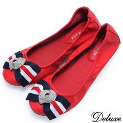 【Deluxe】全真皮海軍風水鑽蝴蝶結娃娃鞋(紅-黑)-B168-1B