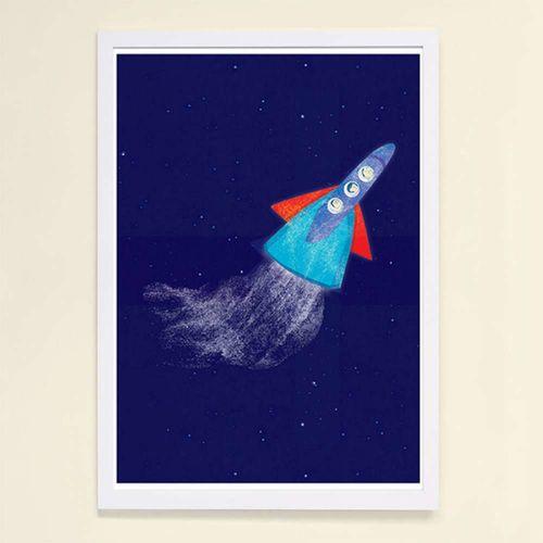 【摩達客】西班牙知名插畫家Judy Kaufmann藝術創作海報掛畫裝飾畫-火箭 (附Judy本人簽名)(含木框)