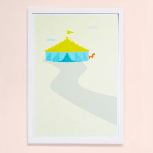 【摩達客】西班牙知名插畫家Judy Kaufmann藝術創作海報掛畫裝飾畫-馬戲團 (附Judy本人簽名)(含木框)