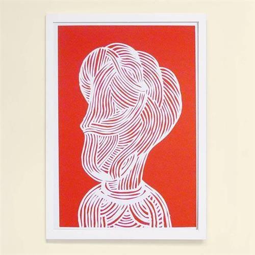 【摩達客】西班牙知名插畫家Judy Kaufmann藝術創作海報掛畫裝飾畫-紅臉(附Judy本人簽名)(含木框)