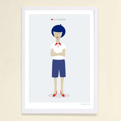 【摩達客】西班牙知名插畫家Judy Kaufmann藝術創作海報掛畫裝飾畫-我愛我鬍子 (附Judy本人簽名)(含木框)