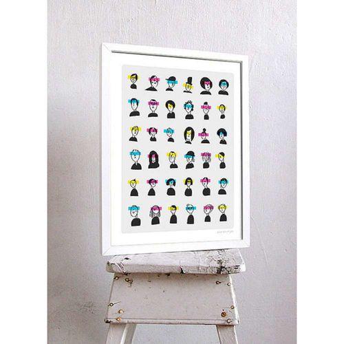 【摩達客】西班牙知名插畫家Judy Kaufmann藝術創作海報掛畫裝飾畫-朋友看3D (附Judy本人簽名)(含木框)