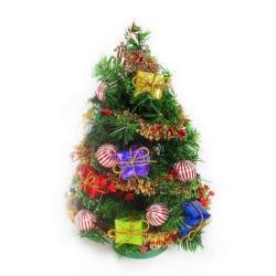摩達客 台灣製迷你1呎/1尺(30cm)裝飾綠色聖誕樹(糖果禮物盒系)(免組裝)