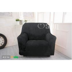 Osun-一體成型防蹣彈性沙發套 厚棉絨溫暖柔順_1+2+3人座 黑色 CE-184