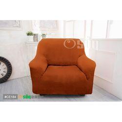 Osun-一體成型防蹣彈性沙發套 厚棉絨溫暖柔順_1+2+3人座 香檳橘 CE-184