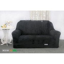 Osun-一體成型防蹣彈性沙發套 厚棉絨溫暖柔順_2人座 黑色 CE-184