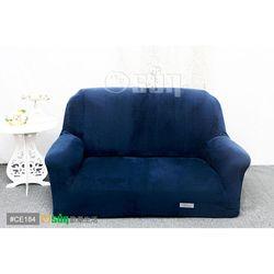 Osun-一體成型防蹣彈性沙發套 厚棉絨溫暖柔順_2人座 深藍色 CE-184