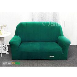 Osun-一體成型防蹣彈性沙發套 厚棉絨溫暖柔順_2人座 墨綠色 CE-184