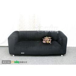 Osun-一體成型防蹣彈性沙發套 厚棉絨溫暖柔順_3人座 黑色 CE-184