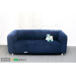Osun-一體成型防蹣彈性沙發套 厚棉絨溫暖柔順_3人座 深藍色 CE-184