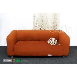 Osun-一體成型防蹣彈性沙發套 厚棉絨溫暖柔順_3人座 香檳橘 CE-184