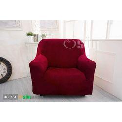 Osun-一體成型防蹣彈性沙發套 厚棉絨溫暖柔順_1人座 酒紅色 CE-184