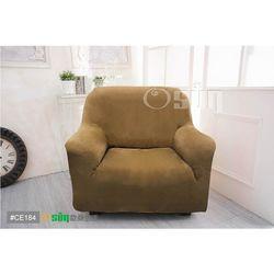 Osun-一體成型防蹣彈性沙發套 厚棉絨溫暖柔順_1人座 棕色CE-184