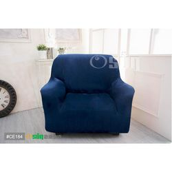 Osun-一體成型防蹣彈性沙發套 厚棉絨溫暖柔順_1人座 深藍色 CE-184