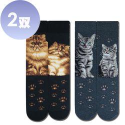 【JHJ DESIGN】喵星人系列 - 金吉拉/美國短毛貓 中統襪 - 2雙(加拿大品牌 MIT)