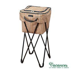 【日本 VACANCES】戶外郊遊 32公升 大容量 棕色 摺疊式支架 保溫 保冷 野餐手提籃