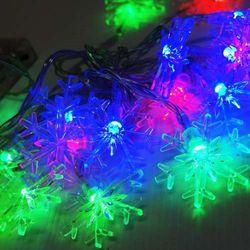 聖誕燈 LED20燈透明雪花電池燈 (彩光) (高亮度又環保)