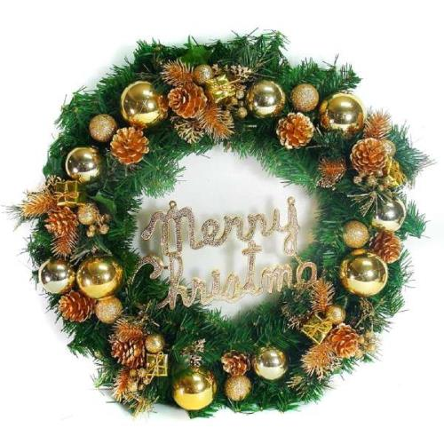 摩達客 20吋豪華高級聖誕花圈(金色系)(台灣手工組裝出貨)