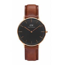 DW Daniel Wellington 經典淺紅咖啡皮革腕錶-金框/36mm(DW00100136)