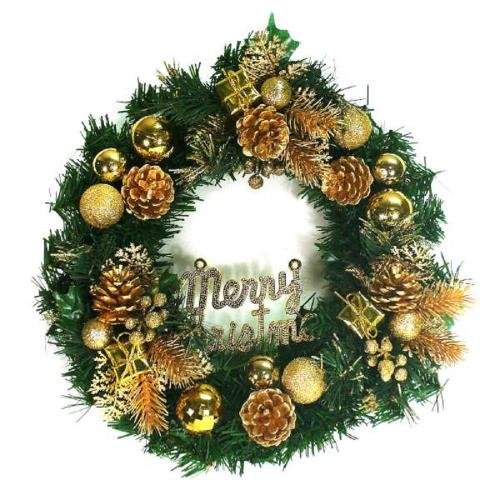 摩達客 14吋豪華高級綠色聖誕花圈(金色系)(台灣手工組裝)