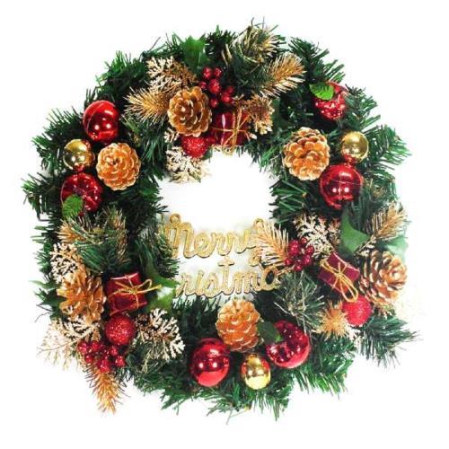 摩達客 14吋豪華高級綠色聖誕花圈(紅金色系)(台灣手工組裝)