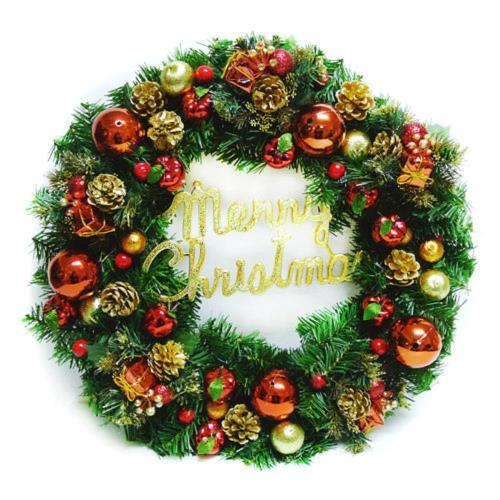 摩達客 20吋豪華高級聖誕花圈(紅金色系)(台灣手工組裝出貨)