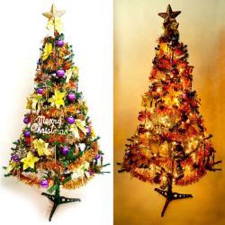摩達客 超級幸福10尺/10呎(300cm)一般型裝飾綠聖誕樹  (+金紫色系配件組+100燈鎢絲樹燈7串)