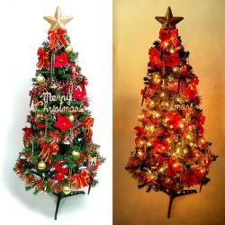 摩達客 超級幸福10尺/10呎(300cm)一般型裝飾綠聖誕樹  (+紅金色系配件組+100燈鎢絲樹燈7串)