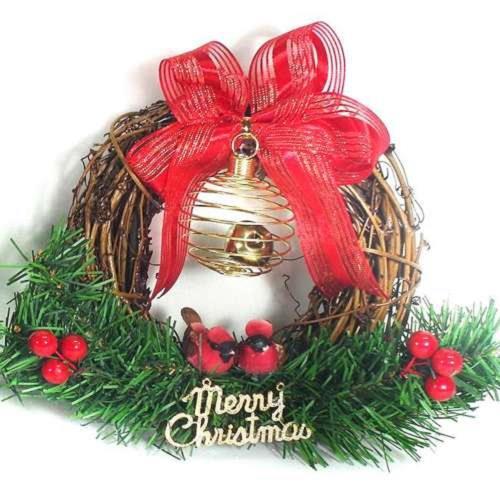 摩達客 樹藤鈴鐺復古對鳥聖誕花圈