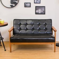 Boden-布蘭頓實木黑色皮沙發雙人椅/二人座