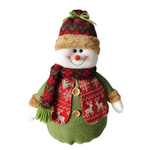 紅帽聖誕雪人布偶擺飾