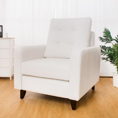 Boden-諾德白色貓抓布紋皮沙發單人椅/單人座