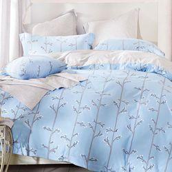 【Betrise】香佩-藍-環保印染德國防螨抗菌精梳棉四件式兩用被床包組-雙人