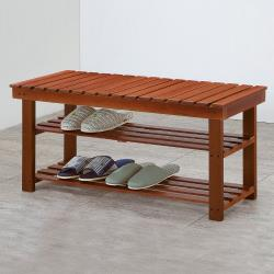 Boden-德溫2.6尺實木二層鞋架/穿鞋椅