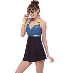 【SAIN SOU】泡湯SPA二件式連身裙泳裝附泳帽A92610
