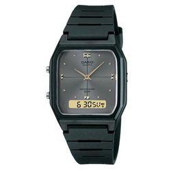 【CASIO】 經典復古風格商務雙顯錶-鐵灰面 (AW-48HE-8A)