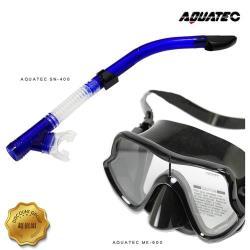 AQUATEC SN-400 乾式潛水呼吸管 + MK-600 流線型大視角單鏡片潛水面鏡 超值組( PG CITY )