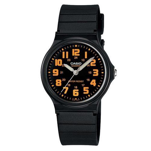 【CASIO】輕巧實用數字時刻經典指針錶-黑X橘數字黑面