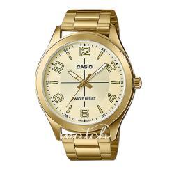 【CASIO 卡西歐】時尚大方_金色離子鍍錶帶_礦物玻璃_防水_指針男錶(MTP-VX01G)